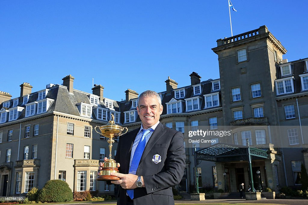 Paul McGinley of Ireland the 2014 European Ryder Cup Team Captain poses with the Ryder Cup outside the Gleneagles Hotel venue for the 2014 Ryder Cup Matches on February 27, 2013 in Auchterarder, Scotland.