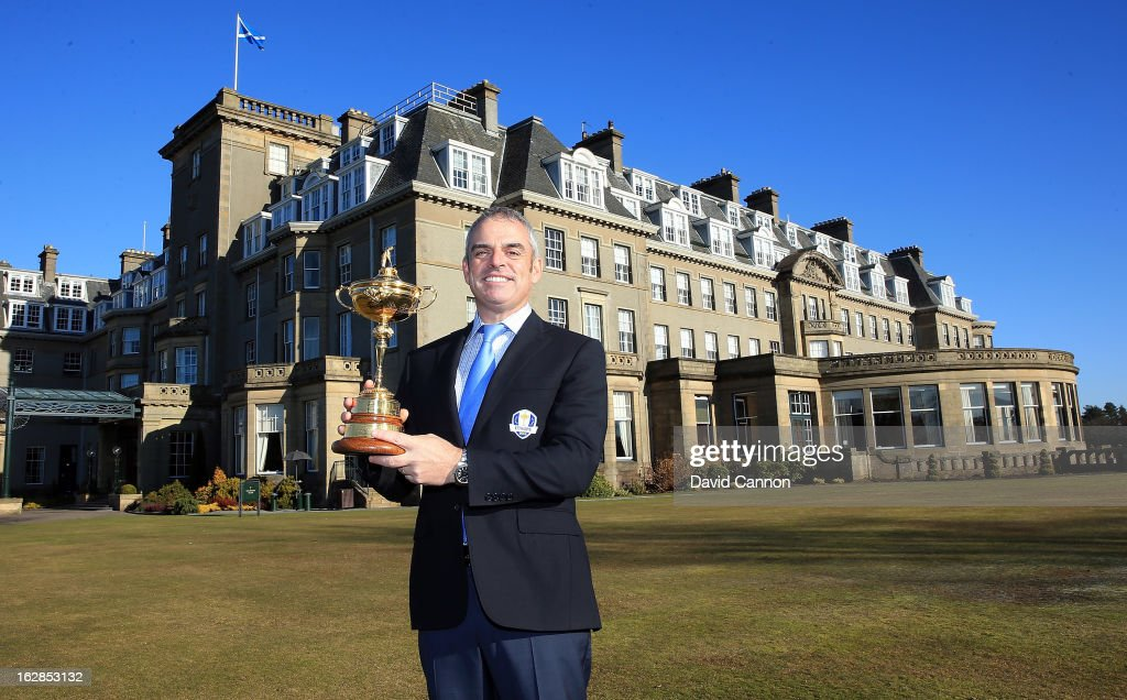 Paul McGinley of Ireland the 2014 European Ryder Cup Team Captain with the Ryder Cup outside and the BMW Official Cars of the Ryder Cup in front of the Gleneagles Hotel venue for the 2014 Ryder Cup Matches on February 27, 2013 in Auchterarder, Scotland.