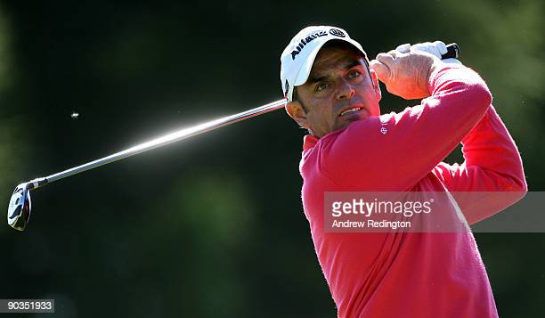 Paul McGinley of Ireland watches his teeshot on the 16th hole during the third round of The Omega European Masters at CransSurSierre Golf Club on...