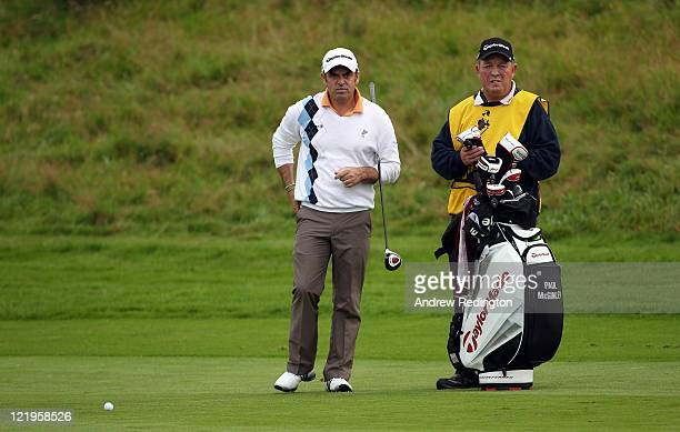 Paul McGinley of Ireland with caddie Edinburgh Jimmy Rae during the Pro Am prior to the start of the Johnnie Walker Championship at Gleneagles at the...