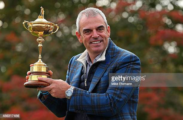 Paul McGinley, the victorious European Ryder Cup team captain, poses during a photocall at the Gleneagles hotel on September 29, 2014 in...
