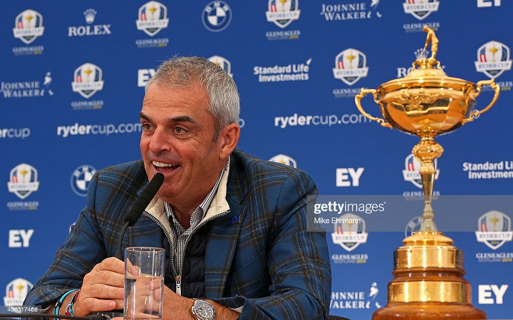 Paul McGinley, the victorious European Ryder Cup team captain, speaks with members of the media at Gleneagles on September 29, 2014 in Auchterarder, Scotland.
