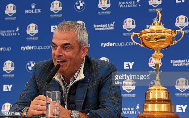 Paul McGinley, the victorious European Ryder Cup team captain, speaks with members of the media at Gleneagles on September 29, 2014 in Auchterarder,...