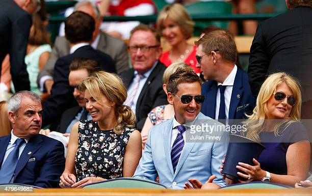 Paul McGinley wife Alison McGinley Ian Poulter and wife Katie Poulter on Centre Court for the Ladies' Singles Fourth Round match between Serena...