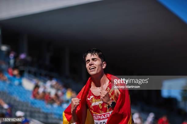 Paul McGrath of Spain celebrates in the Men's 10000m Race Walk final during European Athletics U20 Championships Day 3 at Kadriorg Stadium on July...