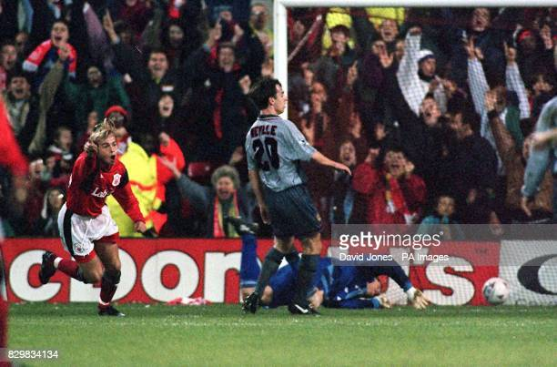 Paul McGregor turns away after scoring Nottingham Forests first goal against Manchester United at the City Ground tonight