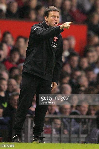 Paul McGuinness of Manchester United shouts instructions from the sidelines during the FA Youth Cup semifinal second leg match between Manchester...