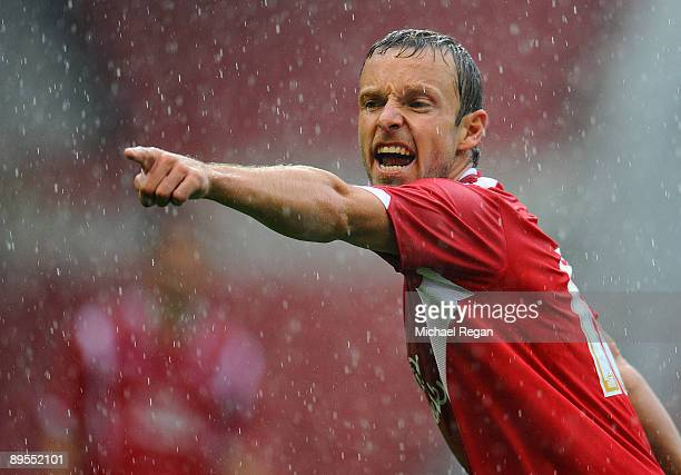 Paul McKenna of Nottingham Forest gestures during the pre season friendly match between Nottingham Forest and Birmingham City at the City Ground on...