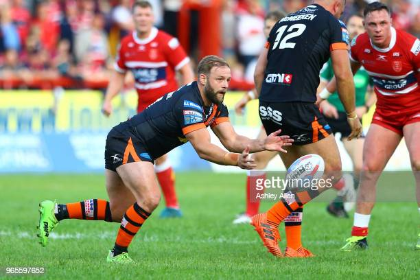 Paul McShane of Castleford Tigers passes the ball during the Roger Millward Trophy match between Hull KR and Castleford Tigers as part of the Betfred...