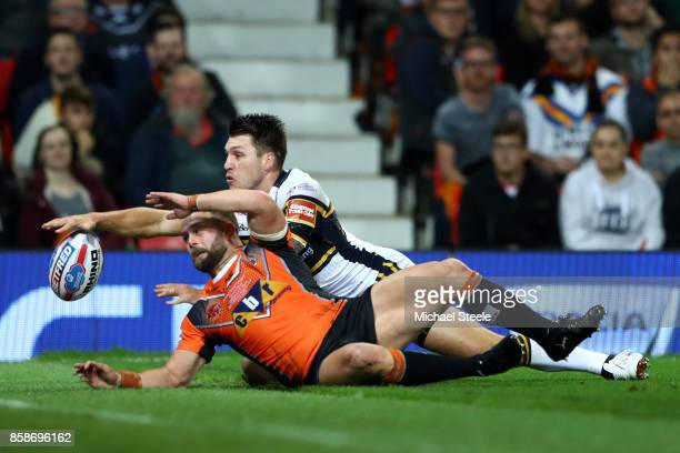 Paul McShane of Castleford Tigers scores a disallowed try during the Betfred Super League Grand Final match between Castleford Tigers and Leeds...