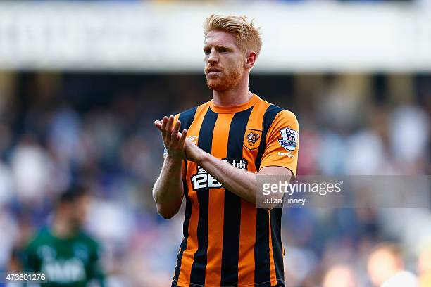 Paul McShane of Hull City applauds fans after his team's defeat in the Barclays Premier League match between Tottenham Hotspur and Hull City at White...