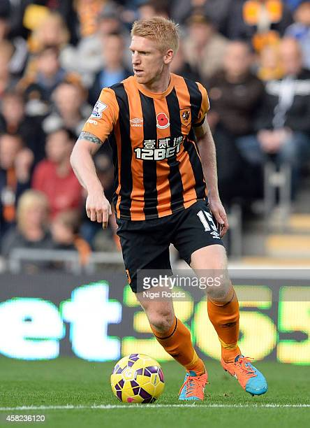 Paul McShane of Hull City during the Premier League Football match between Hull City and Southampton at KC Stadium on November 1 2014 in Hull England