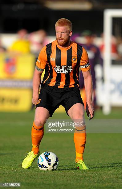 Paul McShane of Hull City in action during a preseason friendly between Harrogate Town and Hull City at the CNG Stadium on July 21 2014 in Harrogate...