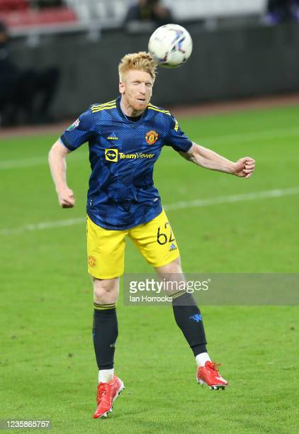 Paul McShane of Manchester United during the Papa John's Trophy match between Sunderland and Manchester United at Stadium of Light on October 13,...