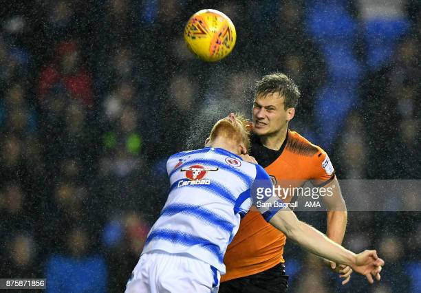 Paul McShane of Reading and Ryan Bennett of Wolverhampton Wanderers during the Sky Bet Championship match between Reading and Wolverhampton at...