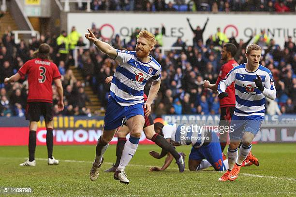 Paul McShane of Reading celebrates scoring his team's first goal during the Emirates FA Cup fifth round match between Reading and West Bromwich...