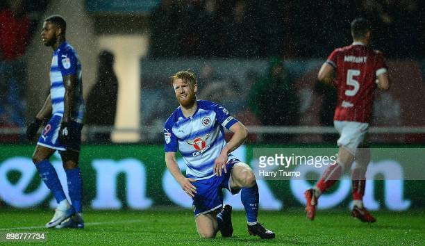 Paul Mcshane of Reading reacts after conceeding during the Sky Bet Championship match between Bristol City and Reading at Ashton Gate on December 26...
