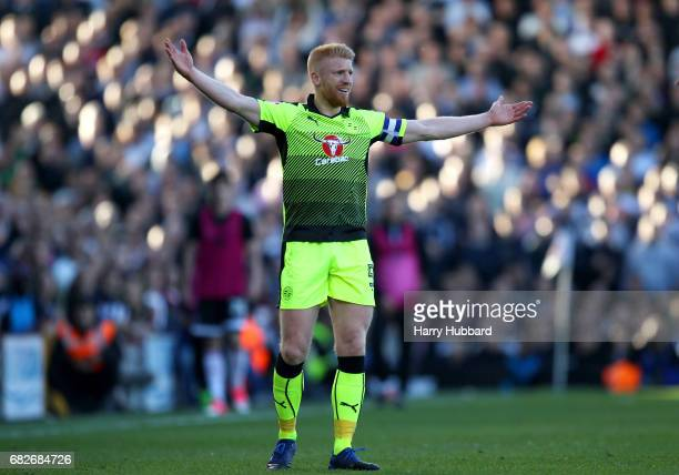 Paul McShane of Readireacts reacts during the Sky Bet Championship Play off semi final 1st leg match between Fulham and Reading at Craven Cottage on...