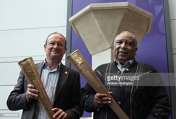 Paul Mears and Jim Redmond pose for a photograph in front of the London 1948 Olympic Cauldron as The BOA announce the nomination process for its...