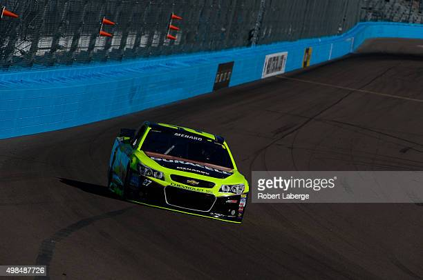 Paul Menard, driver of the Duracell/Menards Chevrolet, practices for the NASCAR Sprint Cup Series Quicken Loans Race for Heroes 500 at Phoenix...