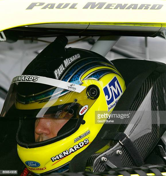Paul Menard driver of the Energizer/Menards Ford sits in his car during practice for the NASCAR Sprint Cup Series Goody�s Fast Pain Relief 500 at the...