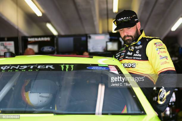 Paul Menard driver of the Menards/Moen Ford climbs into his car during practice for the Monster Energy NASCAR Cup Series Folds of Honor QuikTrip 500...