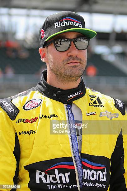 Paul Menard driver of the Richmond/Menards Chevrolet stands on the grid prior to the NASCAR XFINITY Series Lilly Diabetes 250 Heat at Indianapolis...