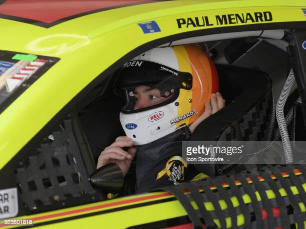 Paul Menard Wood Brothers MenardsMoen Ford Fusion in his car during practice for the Monster Energy Cup Series Folds of Honor Quiktrip 500 on...