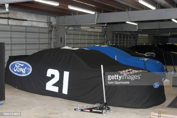 Paul Menard's MotorcraftQuick Lane Tire Auto Center Ford in the garage during the rain delay before the Monster Energy Cup Series Foxwoods Resort...