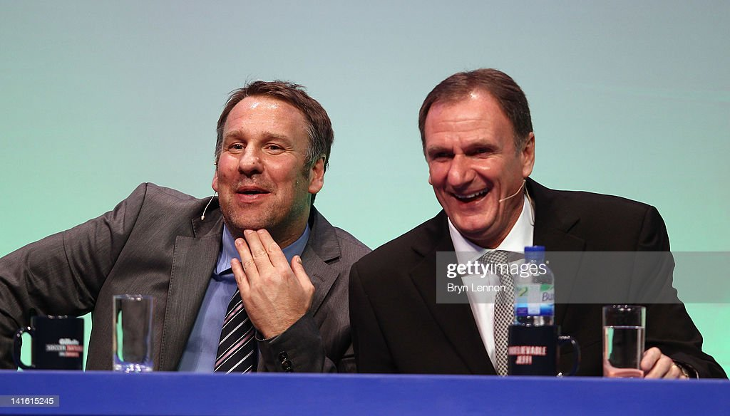 Paul Merson (l) and Phil Thompson answer questions during Gillette Soccer Saturday Live with Jeff Stelling on March 19, 2012 at the Bournemouth International Centre in Bournemouth, England.