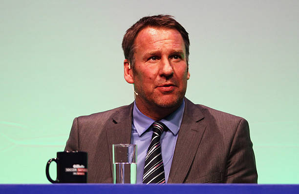 Paul Merson answers questions during Gillette Soccer Saturday Live with Jeff Stelling on March 19 2012 at the Bournemouth International Centre in...