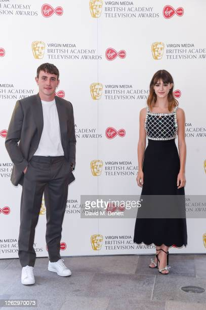Paul Mescal and Daisy EdgarJones socially distant attend the Virgin Media British Academy Television Award 2020 at Television Centre on July 31 2020...