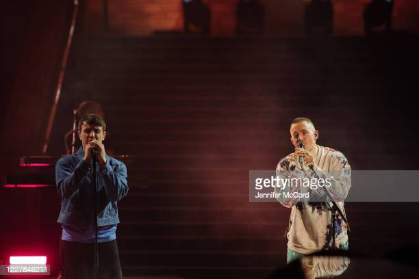 Paul Mescal and Dermot Kennedy perform on stage together at the Natural History Museum on July 30, 2020 in London, England. The performance was...