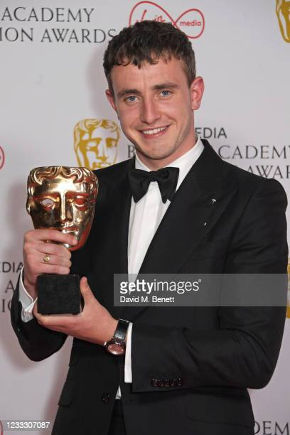 """Paul Mescal, winner of the Leading Actor award for """"Normal People"""", poses in the Winners Room at the Virgin Media British Academy Television Awards..."""