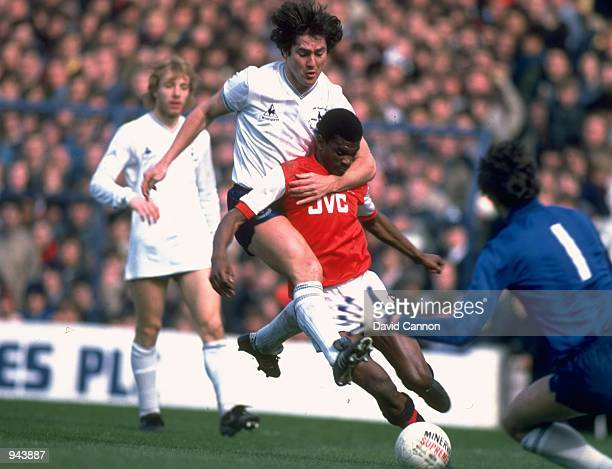 Paul Miller of Tottenham Hotspur tackles Paul Davis of Arsenal during a match at White Hart Lane in London Mandatory Credit David Cannon /Allsport
