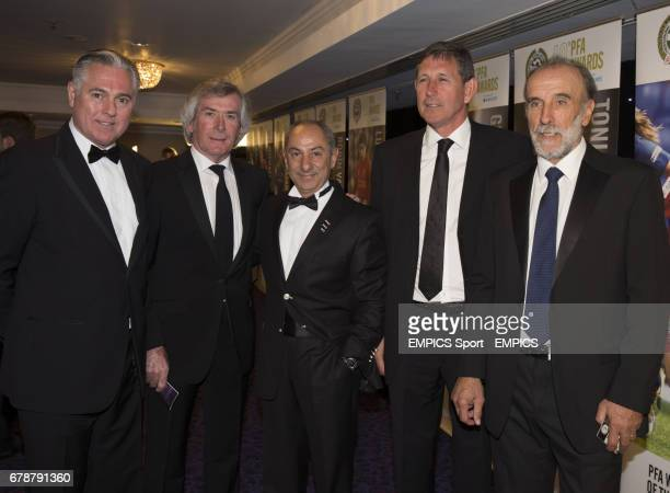 Paul Miller Pat Jennings Ossie Ardiles John Lacy and Ricky Villa pose for a photograph during the PFA Player of the Year Awards 2013 at the Grosvenor...