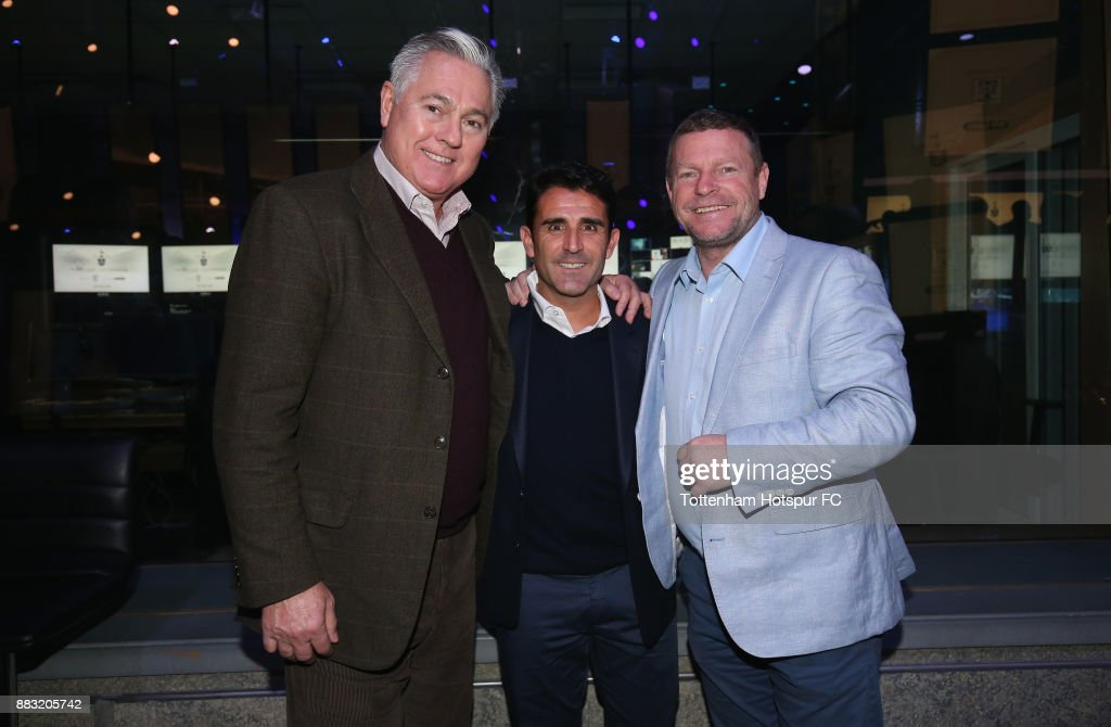 Paul Miller, Tottenham assistant manager Jesus Perez and Micky Hazard during the premiere of 'The Lane' documentary film at BT Sport Studios on November 30, 2017 in Stratford, England.