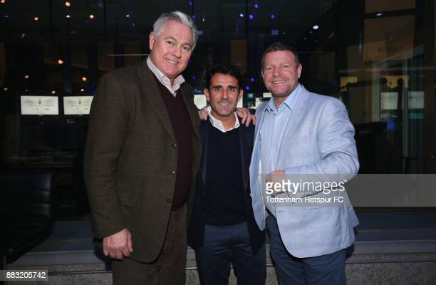 Paul Miller Tottenham assistant manager Jesus Perez and Micky Hazard during the premiere of 'The Lane' documentary film at BT Sport Studios on...