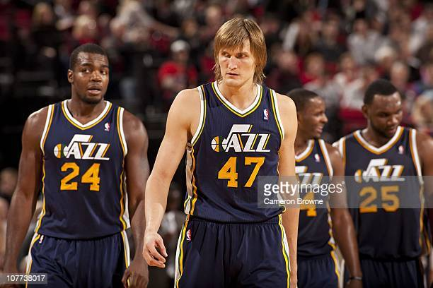 Paul Millsap and Andrei Kirilenko of the Utah Jazz look on during the game against the Portland Trail Blazers on November 20 2010 at the Rose Garden...