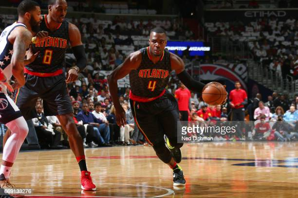 Paul Millsap of the Atlanta Hawks drives to the basket during the game against the Washington Wizards during the Eastern Conference Quarterfinals of...