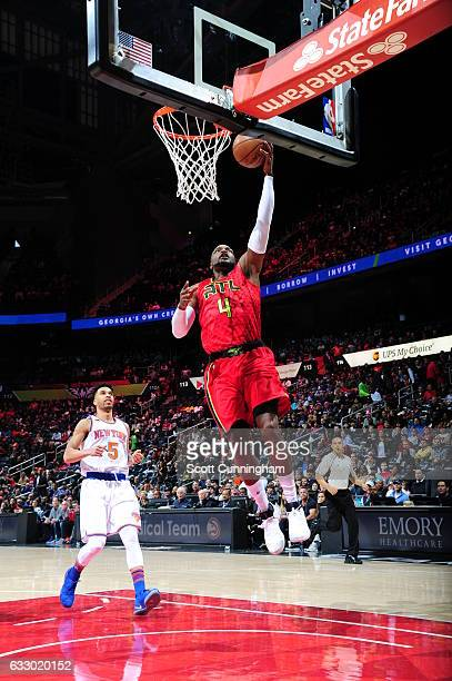 Paul Millsap of the Atlanta Hawks goes up for a lay up during a game against the New York Knicks on January 29 2017 at Philips Arena in Atlanta...
