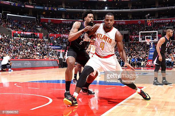 Paul Millsap of the Atlanta Hawks handles the ball during the game against the Los Angeles Clippers on March 5 2016 at STAPLES Center in Los Angeles...