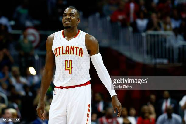 Paul Millsap of the Atlanta Hawks reacts to a play during the second quarter against the Washington Wizards in Game Four of the Eastern Conference...