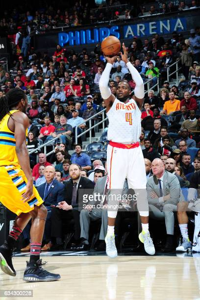 Paul Millsap of the Atlanta Hawks shoots the ball against the Denver Nuggets during the game on February 8 2017 at Philips Arena in Atlanta Georgia...