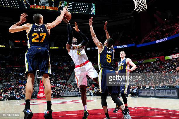 Paul Millsap of the Atlanta Hawks shoots the ball during the game on November 15 2015 at Philips Center in Atlanta Georgia NOTE TO USER User...