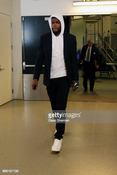 Paul Millsap of the Denver Nuggets arrives before the game against the Minnesota Timberwolves on December 27 2017 at Target Center in Minneapolis...