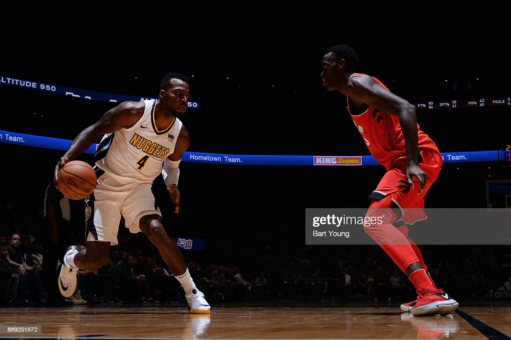 Paul Millsap #4 of the Denver Nuggets handles the ball against the Toronto Raptors on November 1, 2017 at the Pepsi Center in Denver, Colorado.