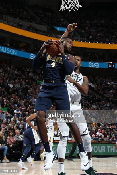 Paul Millsap of the Denver Nuggets handles the ball against the Utah Jazz on October 18 2017 at Vivint Smart Home Arena in Salt Lake City Utah NOTE...