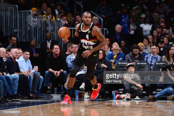 Paul Millsap of the Denver Nuggets handles the ball during the game against the Minnesota Timberwolves on February 23 2020 at the Pepsi Center in...