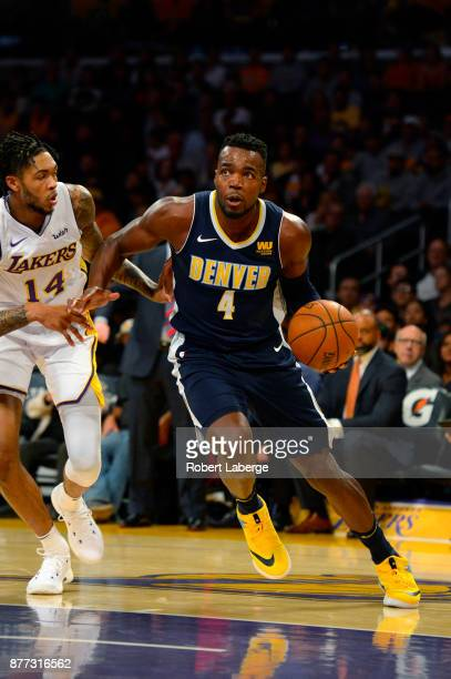 Paul Millsap of the Denver Nuggets plays against Brandon Ingram of the Los Angeles Lakers on November 19 2017 at STAPLES Center in Los Angeles...